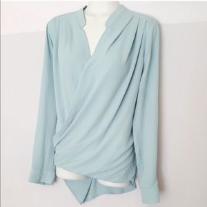 RO & DE High Low Faux Wrap Blouse XS